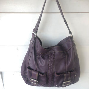 Tignanello Purple Leather Hobo Shoulder Handbag